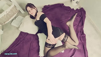 Sexy Brunette Blowjob Big Cock and Anal Sex to Cumshot in Stockings