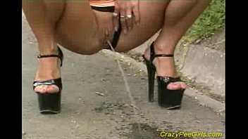 Pee in thong Big tits babe public pissing