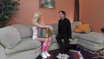 Teen Brat Aubrey Gold Makes Her Neighbor into her Foot Slave