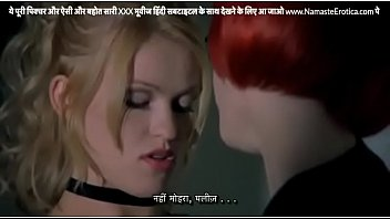 Horny lesbian estate agent grabs hot blonde client babe's pussy at her office with HINDI subtitles by Namaste Erotica dot com