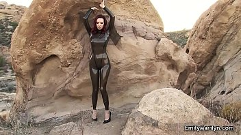 Vida guerra tight latex Emily marilyn fetish model in latex catsuit