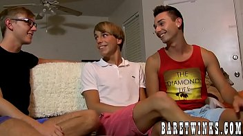 Smooth twink double teamed by his cute lovers until he cums thumbnail