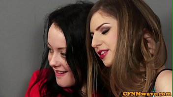 CFNM teen tugging cock in foursome