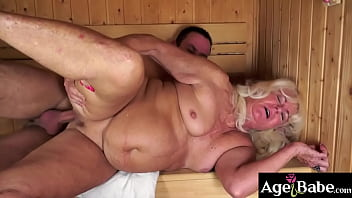 Rob squirted his big creamy load on granny Mylen's wrinkled face