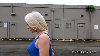 Curvy ass blonde bangs in garage