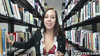 Schoolgirl in uniform wants to bust your nut in the library