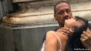 Euro slave rough banged in public bar