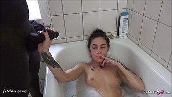 Lullu Gun Suck Big Black Cock of Friend of her Daddy in Bathroom