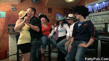 Three boozed BBW have fun in the bar