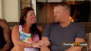 Swinger couple compliments each other as they sign contract