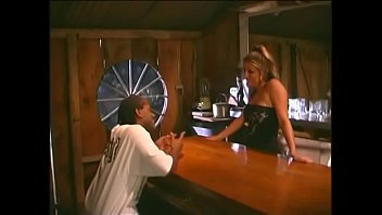 Charming brunette barmaid Brie turns first visitor a trick at first class