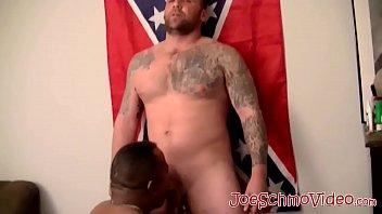Beefy American homos dick pleasured with interracial blowing