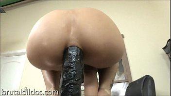 Amber Rayne anal solo with huge dildo 6 min