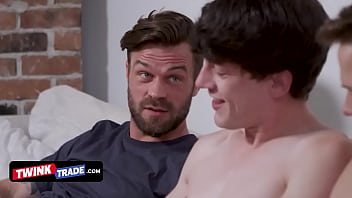 Two Horny Twinks Get Naughty During A Movie Night And Their Step Fathers Decide To Discipline Them