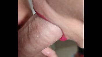 red lipstick sucking my cock