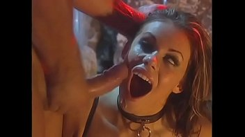 Gorgeous babe in sexy lingerie Gia Paloma fucks a guy in a devil costume
