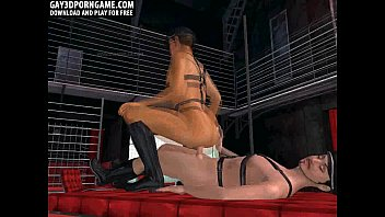 3d bondage leather threesome with...