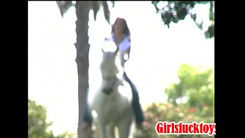 Horse with two hot girls with toys and strapon