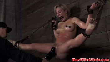 Wall tied up sub Cherie DeVille caned