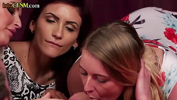 Classy CFNM babes sucking off submissive cock