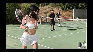 Tennis dicks - Busty cougar is picked up at the tennis club and double teamed