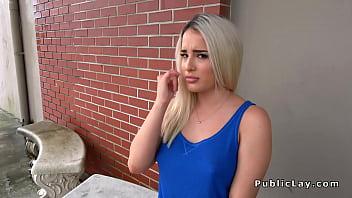 Bubble butt blonde bangs in garage in public