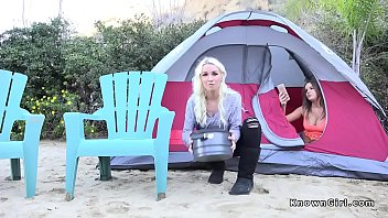 Natural busty babe bangs in a tent
