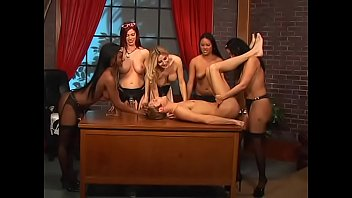Blonde, brunette, redhead, asian and black babes drill dude's ass with strap-ons