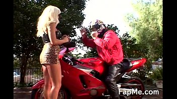Hot Bitch Stroking A Biker's Cock