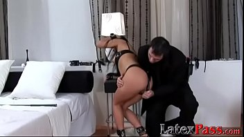 Dominated sub endures anal sex and rough whipping