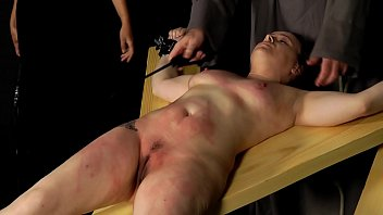 Bondage cunt fetish Brutal cunt whipping for chubby slut