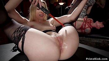 Hot slaves fisting and sucking at orgy