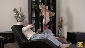 OLD4K. Spontaneous sex of hottie and mature guy ends with creampie 9 min