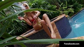 Smokin Blonde Puma Swede Finger Bangs Her Cunt In A Hot Tub! 11 min
