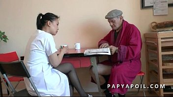 Grandpa fucks his young asian nurse after the shower