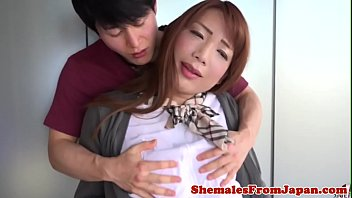 Lovely ladyboy schoolgirl anally drilled