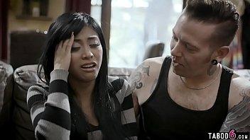 Big brother comforts his upset Asian teen girlfriend