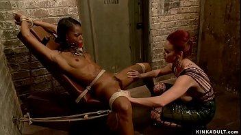 Hot lezdom whips ass to ebony slut