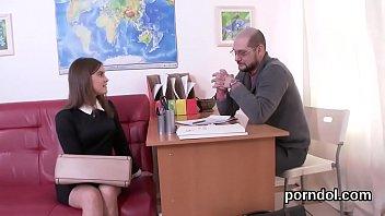 Kissable schoolgirl is tempted and nailed by elder teacher