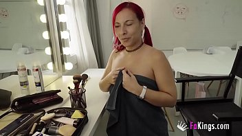TWO COCKS inside redhead Tania's ass and pussy!
