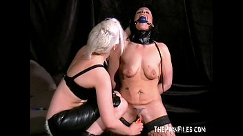 Crystels lesbian domination and lezdomme spanking by blonde leather femdom preview image