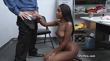 Perky black thief having fun with the horny guard