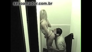 Beautiful blonde girl fucks hidden with boyfriend on the stairs. Security camera films the action
