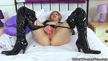 English milf Posh Sophia gets naughty in fuck me boots