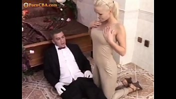 Sexy blonde and waiter - Hot anal