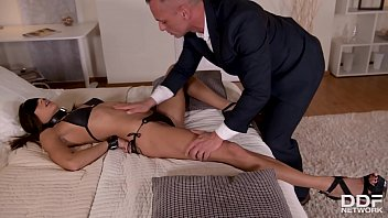 Submissive babe Cassie Del Isla dominated by her husband in BDSM porn tape