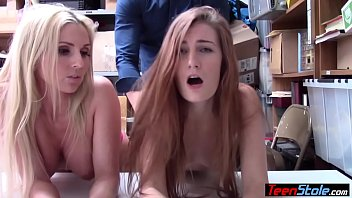 Petite teen and her MILF stepmom thieves punish fucked
