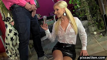 Eurobabe drinks piss champagne