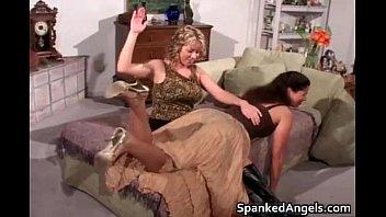 Sexy brunette slut gets slapped