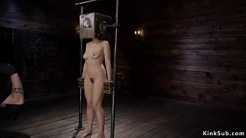 Squirter in device bondage gets caned